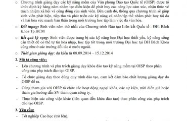 Thong bao tuyen dung Giang vien Soft Skill OISP HCMUT 2014 001