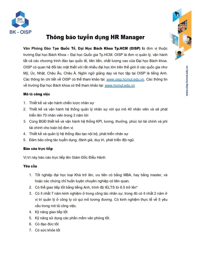 HR Manager - OISP - HCMUT 001