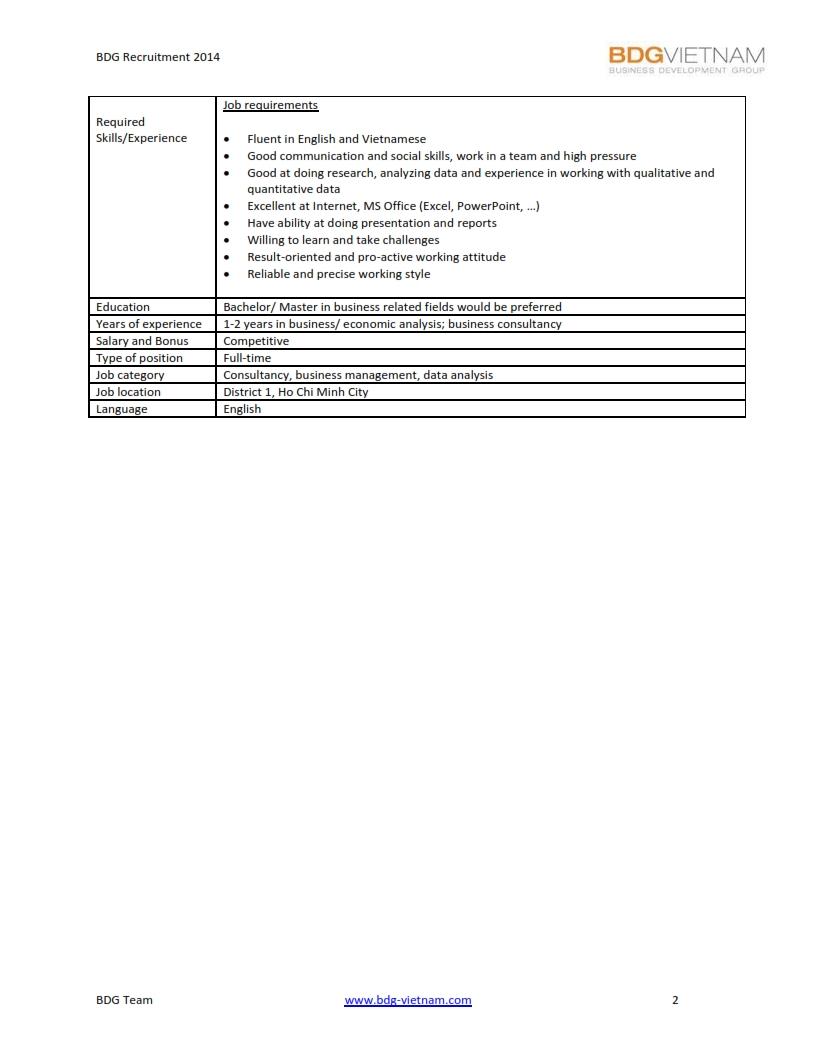 Junior Analyst - BDG Vietnam 002