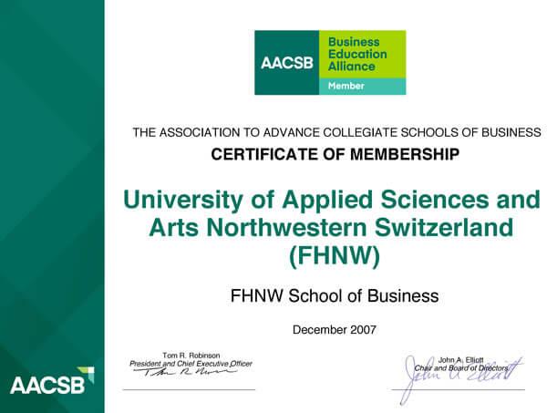 Chứng nhận thành viên của Đại học Tây Bắc Thuỵ Sỹ từ AACSB